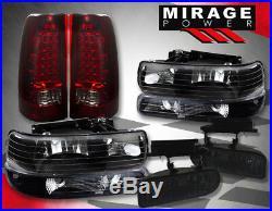 00-02 Silverado Truck Head Lamps + Turn Signal Bumper + Fog + Led Red Len Tails