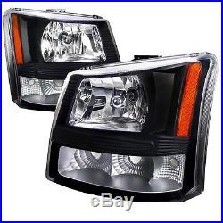 03-07 Chevy 1500/2500/3500 HD Black Amber Housing 1pc Headlights Turn Signals