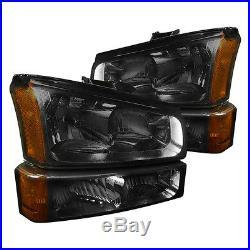 03-07 Chevy 1500/2500/3500 HD Smoked Amber Housing Headlights + Turn Signals