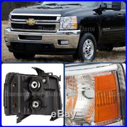 07-13 Chevy Silverado Direct Replacement Head Lights Lamps Assembly Chrome Amber