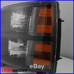 07-13 Chevy Silverado Replacement Black Headlights Headlamps Left + Right Pair