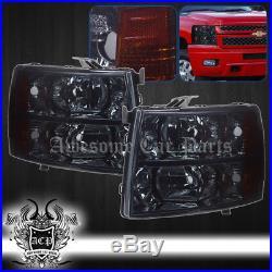 07-13 Silverado 1500 2500 3500 Front Bumper Driving Head Lights Signal Lamps Set