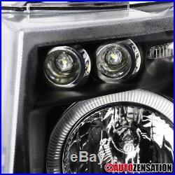 07-14 Chevy Silverado Black LED DRL Halo Projector Headlights
