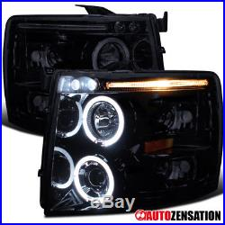 07-14 Chevy Silverado Piano Black LED DRL Halo Projector Headlights