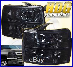 07-14 Silverado Replacement Driving Head Lights Lamps Pairs Assembly Unit Smoked