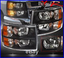 07-2013 Chevy Silverado Black Crystal Replacement Headlights Driver + Passenger