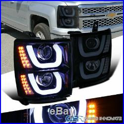 14-15 Chevy Silverado 1500 Glossy Black Halo Projector Headlights+LED Signal