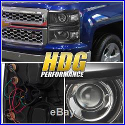 14-15 Chevy Silverado 1500 Truck Black Clear Projector Led Drl Strip Headlights