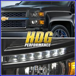 14-15 Chevy Silverado 1500 Truck Black Projector White Led Drl Strip Headlights