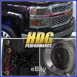 14-15 Chevy Silverado 1500 Truck Smoke Projector White Led Drl Strip Headlights