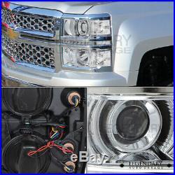 14-15 Chevy Silverado Chrome Housing Clear Turn Signal L. E. D Projector Headlamp