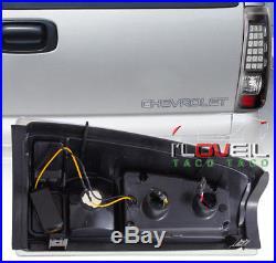 1999-2002 Chevy Silverado 1500 2500 Ls Lt Black Clear Lens Led Tail Lights Pair