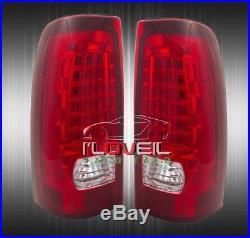 1999-2002 Chevy Silverado 1500 2500 Ls Lt Euro Red Lens Led Tail Lights Pair
