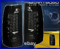 1999-2002 Chevy Silverado 1500 2500 Ls Lt Euro Smoked Lens LED Tail Lights Pair