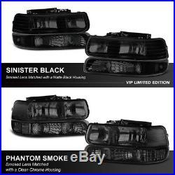 1999-2002 Chevy Silverado 2000-2006 Suburban Tahoe DARK SMOKE Headlights Lamps