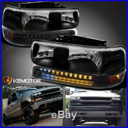 1999-2002 Silverado 2000-2006 Tahoe Suburban Black Headlights+LED Bumper Lights
