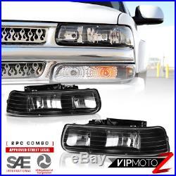 2000-2006 Chevy Suburban Tahoe Silverado Black Headlight Bumper Lamp LEFT Right