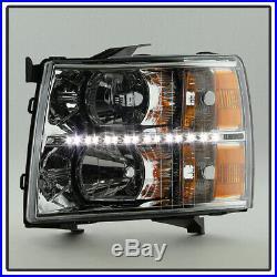 2007-2013 Chevy Silverado 1500 2500 3500 Chrome LED Strip Headlights Headlamps