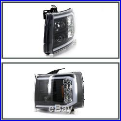 2007-2014 Chevy Silverado 1500 2500HD 3500HD LED DRL Projector Headlights Black