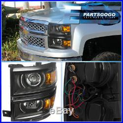 2014-2015 Chevy Silverado 1500 Black Housing Amber Projector Led DRL Headlights