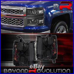 2014-2015 Chevy Silverado 1500 Black Housing Projector Led Drl Strip Headlights