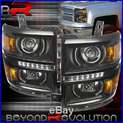 2014-2015 Chevy Silverado 1500 Black Projector Center Led Drl Strip Headlights