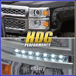 2014-2015 Chevy Silverado 1500 Chrome Projector Headlight Amber Corner Led Strip