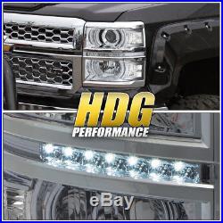 2014-2015 Chevy Silverado 1500 Chrome Projector Headlight Clear Corner Led Strip