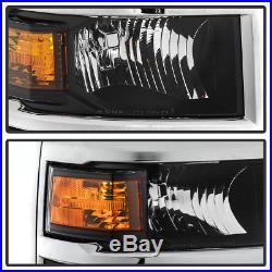 2014-2015 Chevy Silverado 1500 Pickup withChrome Trim Headlights Headlamps Pair