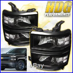 2014-2015 Chevy Silverado 1500 Replacement Head Lights Lamps Assembly Pair Black