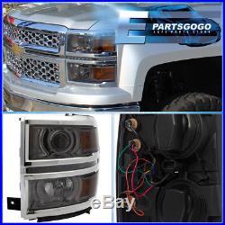 2014-2015 Chevy Silverado 1500 Smoke Lens Amber Projector Led DRL Headlights