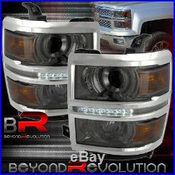 2014-2015 Chevy Silverado 1500 Smoke Projector Center Led Drl Strip Headlights