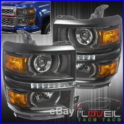 2014 2015 Chevy Silverado Black Housing Projector Led Drl Headlights Lh+Rh Pair