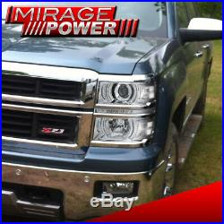 2014-2015 Silverado Front Driving Projector Chrome Clear Turn Sigal Headlamp Led