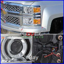 2014-2015 Silverado Projector Led Day Time Running Head Lamp Chrome Amber Corner