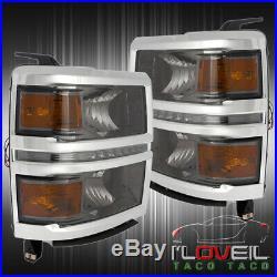2014-2016 Chevy Silverado Smoke Lens Head Lamps Amber Signal Corner White Led