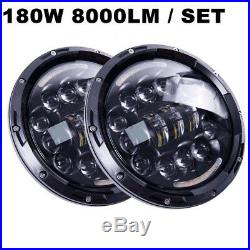 2X IP67 7 Car Headlight DRL Turn Signal Light H4 H13 For JEEP Wrangler Off-road