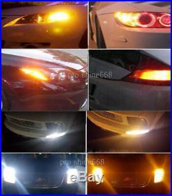 2X White Amber 7443 T20 20SMD LED DRL Switchback Turn Signal Parking Light Bulb