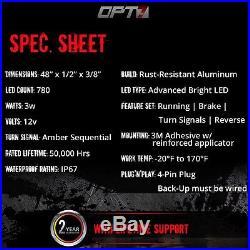 48 TRIPLE LED Tailgate Bar Sequential Turn Signal Truck Backup Brake Light Glow