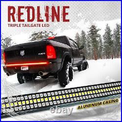 60 Redline Triple LED Tailgate Light Bar Sequential Turn Signal Brake Red