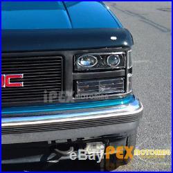 88-93 Chevy Silverado Halo Projector Black LED Headlights + Corner Signal Light