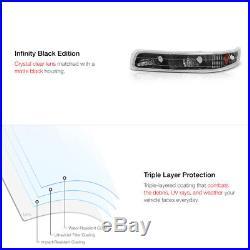 99-02 CHEVY SILVERADO 1500 Halo LED Projector Black Headlight+Amber Parking Lamp
