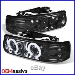 99-02 Chevy Silverado 00-06 Suburban Tahoe Smoke CCFL Halo Projector Headlights