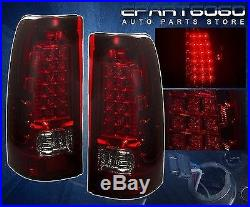 99-02 Chevy Silverado/Gmc Sierra Ls Lt Full Smoked Red Led Tail Lights Assembly