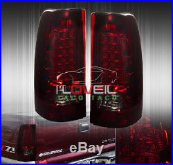 99-02 Chevy Silverado / Sierra Rear Led Brake Stop Tail Lights Lamps Smoked Red