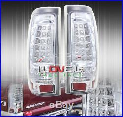99-02 Gmc Sierra Chrome Clear Lens Led Rear Brake Tail Lights Turn Signal Lamps