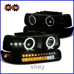 99-02 Silverado 00-05 Suburban Tahoe Projector Black Tint Headlights Turn Signal