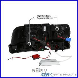 99-02 Silverado 00-06 Suburban Black Smoke Projector Headlights+LED Bumper Lamps