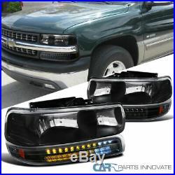 99-02 Silverado 00-06 Suburban Tahoe Black Headlights+LED Bumper Signal Lamps