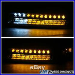 99-02 Silverado 00-06 Suburban Tahoe Black Projector Headlights+LED Bumper Lamps
